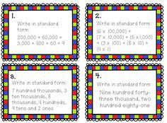 Place Value Task Cards  24 5-and 6-digit Place Value Task Cards. This set…