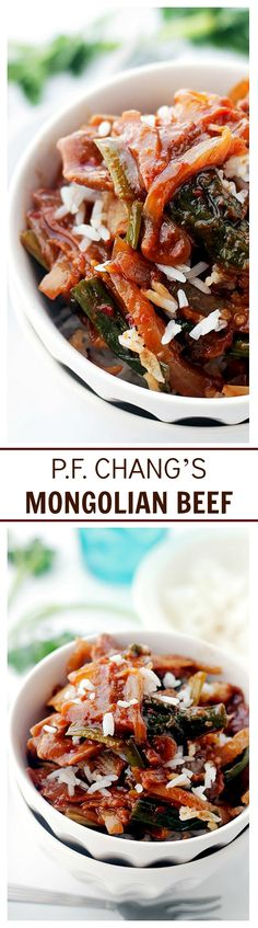 Delicious flank steak simmered in a sweet soy sauce mixture and served atop a bed of rice. This is the BEST ever copycat of P.F. Chang's Mongolian Beef!
