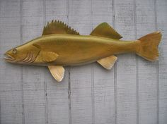 Hand Carved Wood Fish Walleye by 100EastWoodworking on Etsy, $64.99