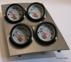 1968-1974 Nova Console Brushed Aluminum Finish Quad Pod with Auto Meter Phantom Electric Gauges.
