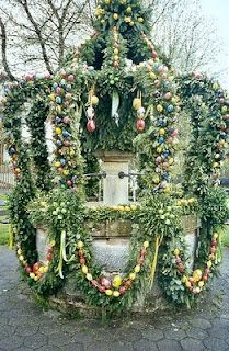 Easter Fountain in Germany - typical decoration of hollowed out & decorated eggs. Osterbrunnen