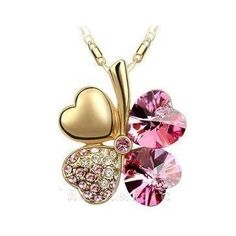 Noble Swarovski Crystal Gold Plated Rose Fashion Pendant Necklace