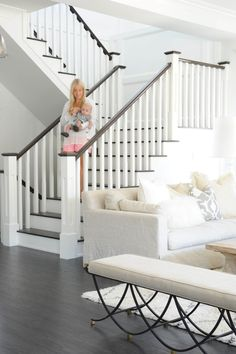 Ideas for Painting Stair Banisters . Ideas for Painting Stair Banisters . Open Railing with Hardwood Stairs We Love How the Dark Wood House Stairs, Staircase Remodel, Home, Rustic Home Interiors, Staircase Railings, Staircase Design, White Houses, White Stairs, Blogger Home