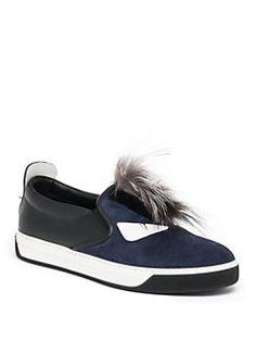 Fendi - Monster Mohawk Fur Trimmed Leather Sneakers