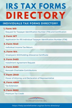 This tax forms directory guides every taxpayer in preparing and filing all the needed requirements by the IRS to ensure they don't miss filing deadlines. Business Tax Deductions, Bookkeeping Business, Small Business Tax, Business Ideas, Llc Business, Business Education, Income Tax Preparation, Small Business Organization, Amigurumi
