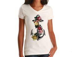 Women's Floral Anchor Vneck T-Shirt - Juniors Fit Tattoo Vintage Nautical Feminine T-Shirt
