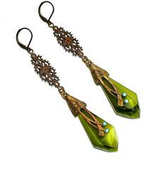 Art Nouveau Czech Jewelry Glass Earrings by silvermoonstars