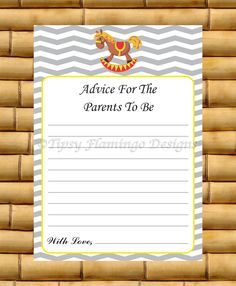 Baby Shower Game, Shower Game Card, Advice For The Parents To Be, Rocking Horse, Grey and White Chevron, Printable, Instant Download- TFD220 by TipsyFlamingoDesigns on Etsy