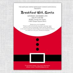 Santa Holiday Party or Breakfast With Santa Invitation (Minimalist 5x7 printable Christmas Party Invitation) by BeanPress on Etsy
