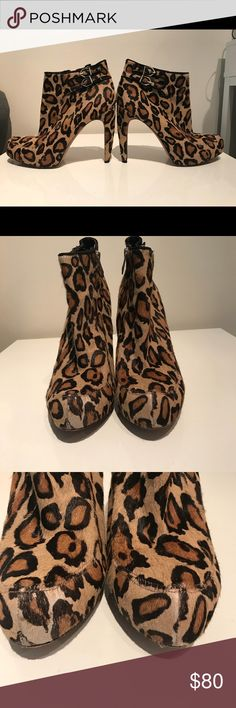 Sam Edelman Leopard Calf hair booties Sam Edelman Leopard Calf hair booties. Pre-loved but in great condition! Small scuff on heel and back of boot, small tear on inside lining of 1 boot, all shown in photos. Sticker residue makes the soles look more worn than they are.  **all items from a smoke free, pet free home** Sam Edelman Shoes Ankle Boots & Booties