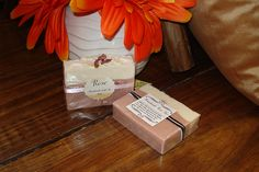 Rose handmade bar of soap Contains: Olive oil, Coconut oil, Palm oil, Canola oil, Almond oil, Organic sunflower oil, Oxide, Rose water, Rose Clay, and Fragrance oil.  Handmade Soap by Riba