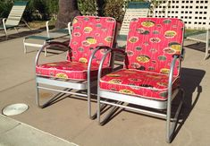 Vintage 1950s patio / pool / lawn / garden / porch chairs with atomic barkcloth / bark cloth fabric & aluminum frame