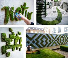"Bye-Bye Banksy, Basquiat and other talented graffiti artists. This year the trend is for green, or ""moss"" graffiti, as the Americans say. Moss Wall Art, Moss Art, Design Jardin, Garden Design, Graffiti En Mousse, Vegetal Concept, Art Vert, Vertikal Garden, Sensory Garden"