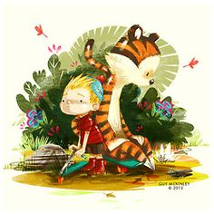 guymckinley:    I finished my Calvin and Hobbes for the #drawcalvinandhobbes and here it is.  The project blog by James Howard is here and there is plenty of goodies by lots of great artist on there so check it out.  Calvin and Hobbes have a real place in my heart since I was a boy and I still love them to this day. So I had to do them some justice in the piece.