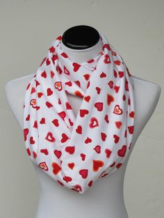 Valentine's day hearts infinity scarf red pink hearts on white cotton jersey knit loop scarf, Valentine day gift for women and teen girls #scarf #infinityscarf #accessories #accessory #valentine #valentineday #hearts #heartsscarf #HappyScarvesByLesya by HappyScarvesByLesya on Etsy