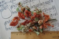 ANTIQUE VINTAGE MILLINERY VELVET BUDS FLOWERS RUST TAUPE HAT FRENCH DRESS TRIM