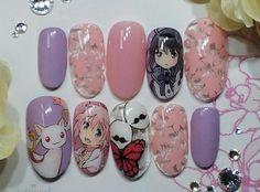 Luv Nails, Goth Nails, Pink Nails, Kawaii Nail Art, Cute Nail Art, Easy Nail Art, Sailor Moon Nails, Japan Nail Art, Mary Janes