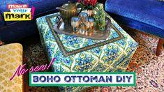 No Sew Ottoman DIY using E-6000 Fabri-Fuse and Fairfield World foam and batting!
