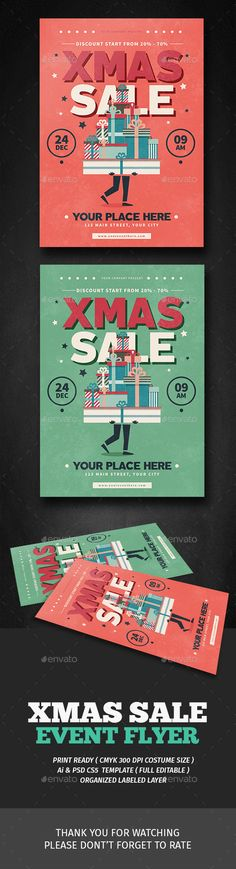 Xmas Sale Flyer — Photoshop PSD #christmas flyer #christmas invitation • Download ➝ https://graphicriver.net/item/xmas-sale-flyer/18886303?ref=pxcr