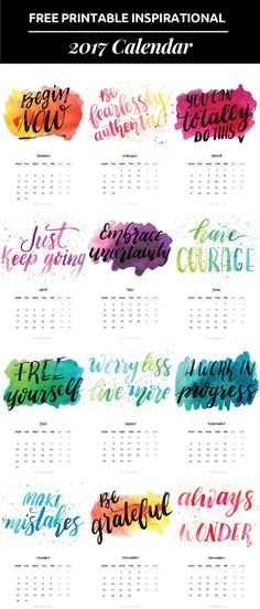 Free Printable 2017 Inspirational Quotes Calendar{newsletter subscription required}