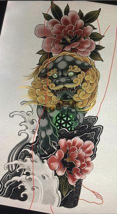 Tattoo Japanese Style, Japanese Tattoo Designs, Daruma Doll Tattoo, Bio Organic Tattoo, Fu Dog, Asian Tattoos, Oriental Tattoo, Full Sleeve Tattoos, Desenho Tattoo