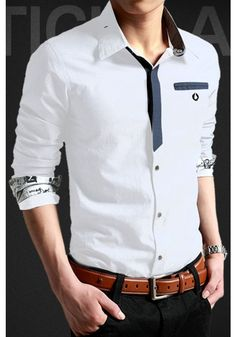 men suits - Men shirts are always quite popular for its simple design and easytomatch feature Here, we would like to highly recommend this piece of Slim Fit Hidden Button Korean Style Men Shirt to you It very stylish with splicing neck lining which makes Formal Shirts, Casual Shirts, Gents Shirts, Korean Fashion, Men's Fashion, Mens Kurta Designs, Men Dress, Shirt Dress, Shirt Style