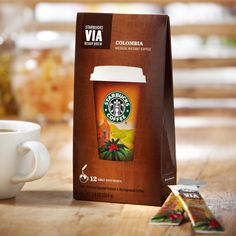 Starbucks' instant Columbian coffee in individual packets (12 per package).