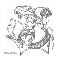 Cross stitch pattern sister Elsa and Anna from door LeRayonDeSoleil