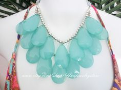 Silver Beaded-Sea Foam Mint Green, turquoise necklace, Stormy Seas Briolette Bib Statement Necklace. $28.88, via Etsy.