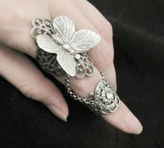 Accessories / Fairy's Touch Silver Butterfly Filigree Armor Ring by RavynEdge Fantasy Jewelry, Gothic Jewelry, Silver Jewelry, Unique Jewelry, Silver Rings, Metal Jewelry, Gothic Rings, Bullet Jewelry, Butterfly Ring
