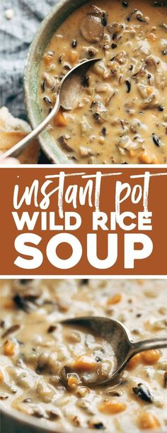 Wild Rice Soup in the Instant Pot! So creamy and simple. Perfect for fall/winter nights! #soup #instantpot #wildrice #mushrooms #dinner #lunch #creamy #comfortfood | pinchofyum.com