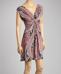 Love this Mauve & Black Paisley Ruched V-Neck Dress on #zulily! #zulilyfinds