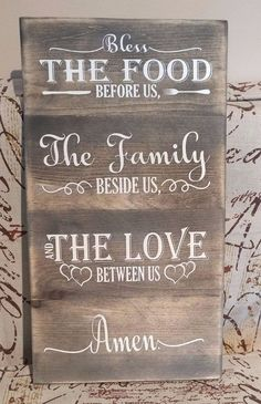 Wood Bless the food family sign farmhouse style rustic decor Joanna Gaines Decor #Handmade #Farmhouse