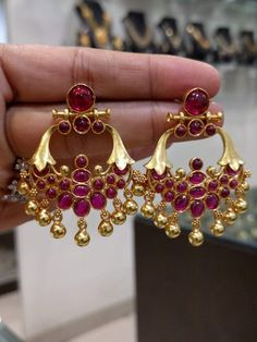 Items similar to Absolutely Traditional Earrings in Silver & Gold Polish with Ruby's - Indian Temple Jewelry for Occasions,Weddings - Bridal Jewelry on Etsy Jewelry Design Earrings, Gold Earrings Designs, Gold Designs, Jewelry Rings, Necklace Designs, Jewelry Ideas, Gold Jewelry, Beaded Jewelry, Silver Jewellery Indian