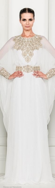 Modest long sleeve wedding gown with gold neckline embellishment and waistline. Zuhair Murad | S/S 2014 RTW
