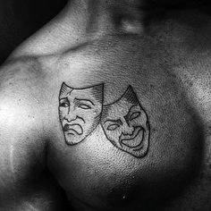 Drama Masks Guys Small Upper Chest Simple Tattoo