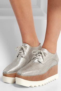 Stella McCartney | Metallic snake-effect faux leather platform brogues | NET-A-PORTER.COM