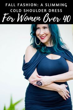 40 Plus Fashion: A Slimming Cold Shoulder Dress for Fall - Romy Raves
