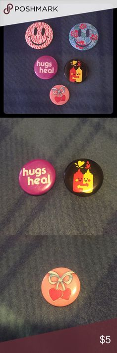 Happy n Hugs button Set Two smiley face buttons, two hug buttons and one hearts with bow button. Great Condition. Other