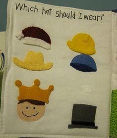 what hat should I wear? Misschien met een foto van het kind in kwestie. Diy Quiet Books, Baby Quiet Book, Felt Quiet Books, Infant Activities, Book Activities, Indoor Activities, Summer Activities, Felt Diy, Felt Crafts
