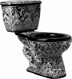 Who knew a toilet could be so beautiful? Mexican Tile - - ON SALE - Black & White Classic Mexican Talavera Porcelain Bathroom Toilet Mexican Tile Kitchen, Mexican Tiles, Kitchen Tiles, Black Toilet, Bidet, Talavera Pottery, Guest Bathrooms, Unusual Bathrooms, Bathroom Plans