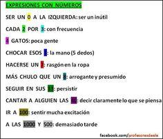 Expresiones en español con números (via Facebook- Profesoresdeele)