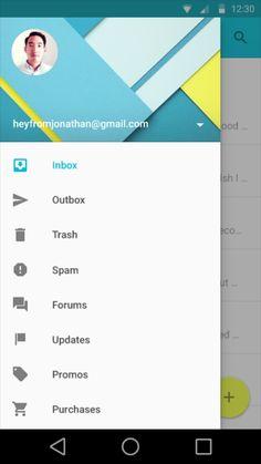 Google Material Design: Gmail: Drawer / ?