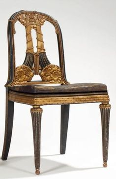 Paul Follot and Lawrence Malcles, French chair, gilt with black lacquere, 89 cm H.