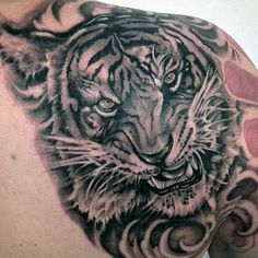 Tiger Tribal Tattoo For Men On Shoulder Blade