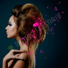 PINK LIGHT HAIR SPARKLE CLIP EXTENSIONS - Bongo Flashers Clip In  Extensions 4ed7c41c0740