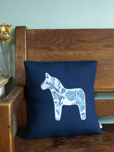 Dark Blue Swedish Dala Horse Appliqued Pillow Handmade. $48.00, via Etsy.