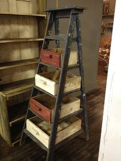 old ladders with painted drawers- Google Search