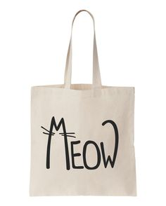 Meow Cat Funny Cotton tote bag by BestTshirt on Etsy, $10.00