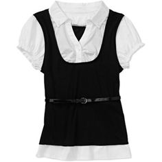 No Boundaries Juniors 2fer with Puff Sleeve and Skinny Belt